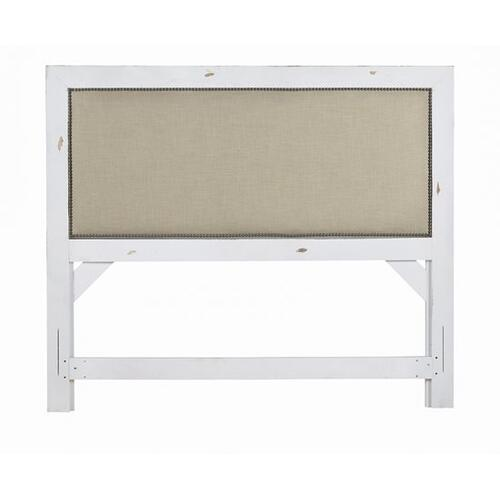 Gallery - 5/0 Queen Upholstered Headboard - Distressed White Finish