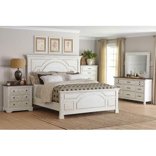 Traditional Vintage White Queen Bed
