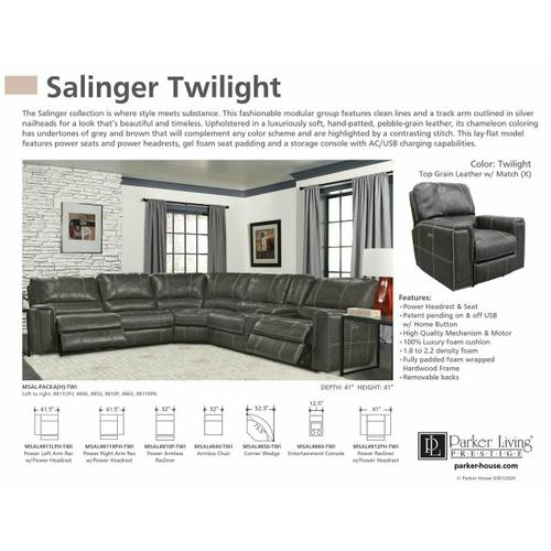 SALINGER - TWILIGHT Power Right Arm Facing Recliner