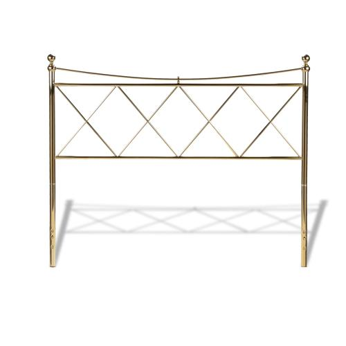 Fashion Bed Group - Lennox Metal Headboard Panel with Diamond Pattern Design and Downward Sloping Top Rail, Classic Brass Finish, Queen