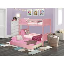 West Furniture Albury Twin Bunk Bed in Pink Finish with Convertible Trundle & Drawer