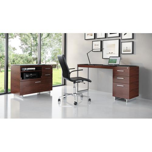 BDI Furniture - Sequel 20 6114 3 Drawer File Cabinet in Chocolate Walnut Satin Nickel