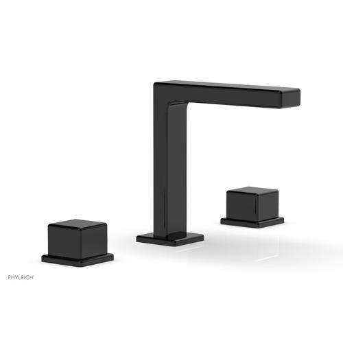 """MIX Widespread Faucet - Cube Handles 6-3/4"""" Height 290-04 - Gloss Black"""