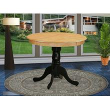 """Antique Table 36"""" Round in Oak and Black Finish"""