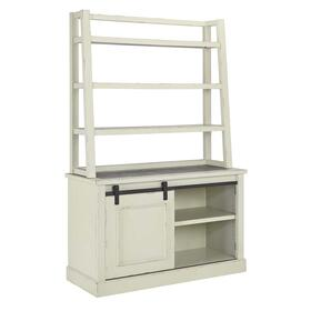 Jonileene Home Office Tall Desk Hutch White/Gray