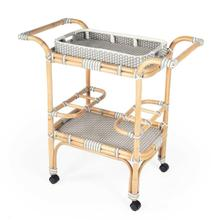 See Details - Function, form and fun all come together on this beautiful PU Rattan weave serving cart. The simplistic design of this servig cart is enhanced by a 'POP of contemporary design. The functional design with its intricate patterned weave and patterned removable tray offer all attentions to function and details. Reminiscent of the outdoor cafes on the streets of Paris, while sipping an aperitif and served with style. The fresh new look of this serving cart will bring new life to your entertaining style.