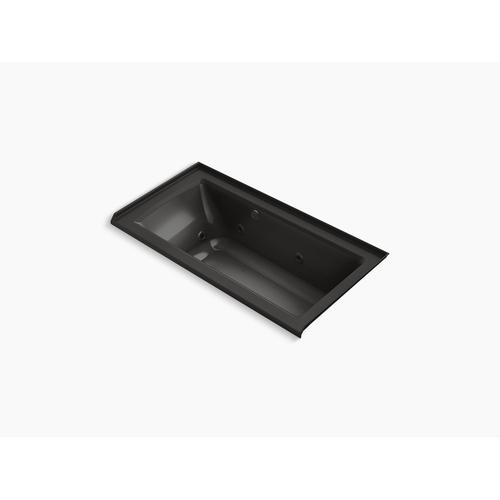 """Black Black 60"""" X 30"""" Alcove Whirlpool Bath With Bask Heated Surface, Integral Flange, and Right-hand Drain"""