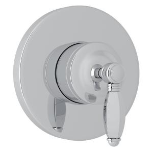 Polished Chrome Italian Bath 4-Port, 3-Way Diverter Trim with Hex Series Only Metal Lever Product Image