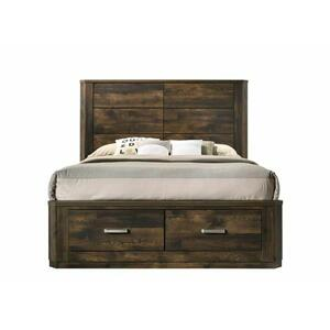 ACME Elettra Eastern King Bed (Storage) - 24197EK - Transitional - Wood (Rbw), Paper Veneer, LVL, MDF, PB - Rustic Walnut
