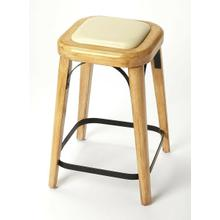 Curves, curves, everywhere you see the charming curves of this Acacia, Pine and iron counter stool. Natural wood shades blend and contrast to frame a faux leather seat. Tapered legs get extra support from a 4-sided iron stretcher and flat iron seat s