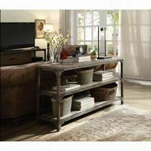 ACME Gorden Console Table - 72685 - Weathered Oak & Antique Silver