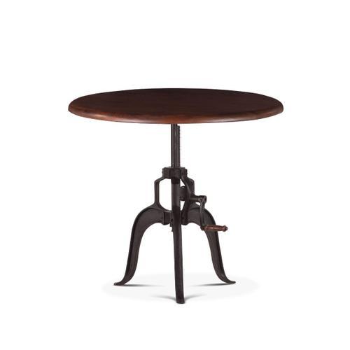 "Industrial Loft 36"" Adjustable Round Side Table in Walnut"
