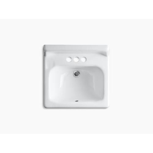 """White 19"""" X 17"""" Wall-mount Bathroom Sink With 4"""" Centerset Faucet Holes"""
