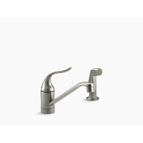 """Vibrant Brushed Nickel Two-hole Kitchen Sink Faucet With 8-1/2"""" Spout, Matching Finish Sidespray and Lever Handle"""
