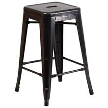 24'' High Backless Black-Antique Gold Metal Indoor-Outdoor Counter Height Stool with Square Seat