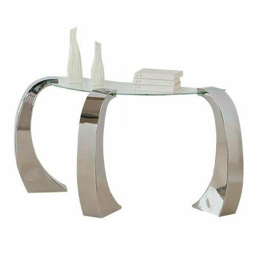 ACME Metro Sofa Table - 07574 - Chrome Plated & Clear Glass