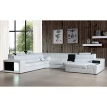 See Details - Divani Casa Polaris - Contemporary White Bonded Leather U Shaped Sectional Sofa with Lights