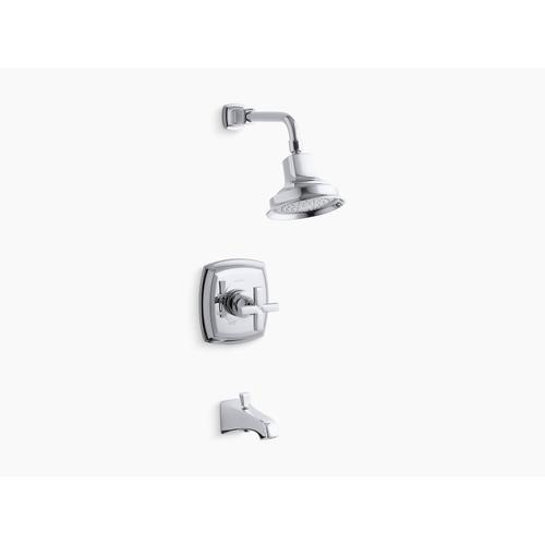 Kohler - Vibrant French Gold Rite-temp Bath and Shower Trim Set With Cross Handle and Npt Spout, Valve Not Included
