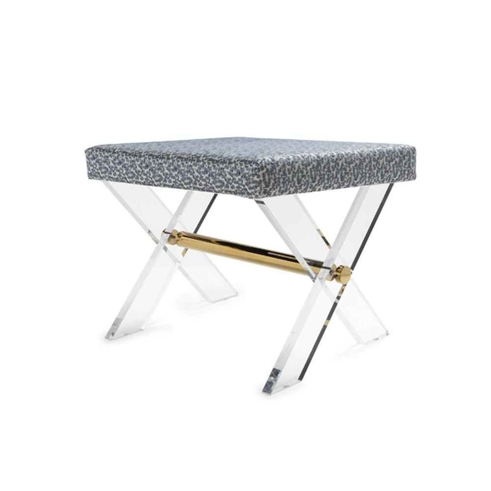 The Style Spotters Have Spoken! the Dixon Stool, With Its X Frame In Crystal Clear Acrylic, Is A Perennial Favorite. Upholstered Cushion In Elegant Pale Blue and Cream Fabric With A Polished Brass Stretcher.