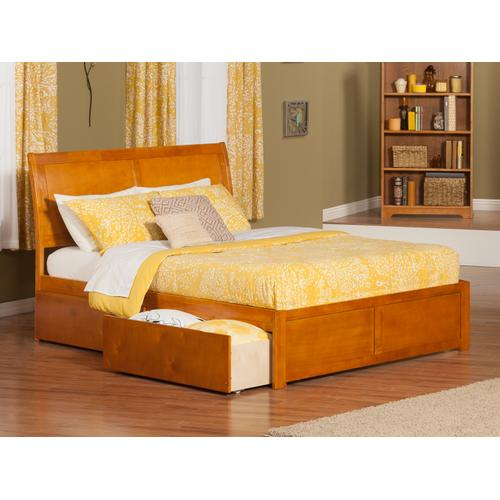 Portland Queen Flat Panel Foot Board with 2 Urban Bed Drawers Caramel Latte