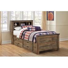 View Product - Trinell Twin Bed W/Under Bed Storage & Bookcase Headboard Brown
