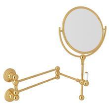 See Details - Edwardian Wall Mount Shaving Mirror - English Gold