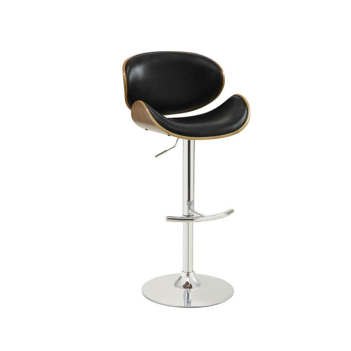 Contemporary Black Adjustable Height Bar Stool