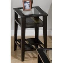 Chairside Table W/ 5mm Tempered Glass and Slate Shelf