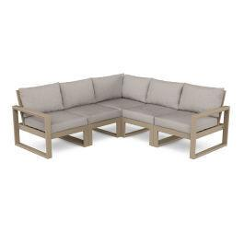 Polywood Furnishings - EDGE 5-Piece Modular Deep Seating Set in Vintage Sahara / Weathered Tweed