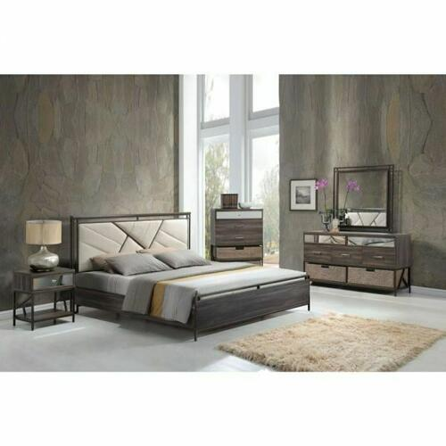 ACME Adrianna Queen Bed - 20950Q - Cream Cotton Fabric & Walnut