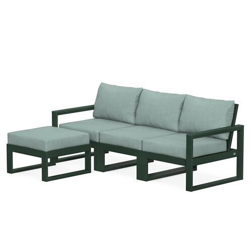 Polywood Furnishings - EDGE 4-Piece Modular Deep Seating Set with Ottoman in Green / Glacier Spa