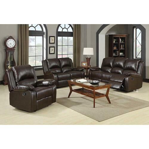 Boston Brown Reclining Three-piece Living Room Set