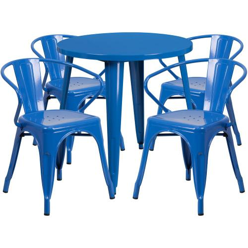 30'' Round Blue Metal Indoor-Outdoor Table Set with 4 Arm Chairs