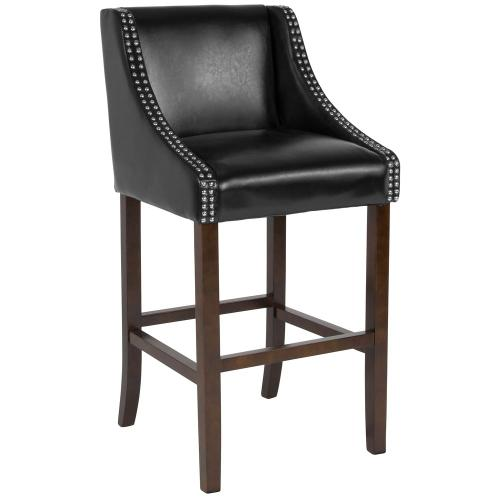 "30"" High Transitional Walnut Barstool with Accent Nail Trim in Black Leather"