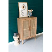 See Details - tall wood cabinet with two woven cane doors