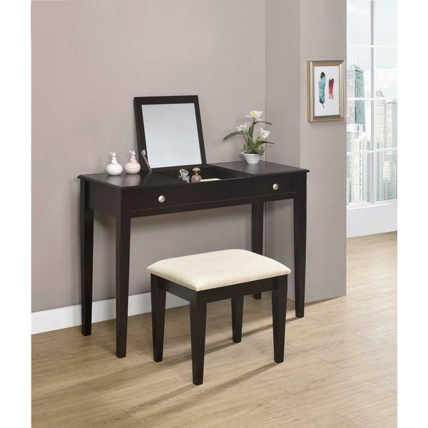 See Details - Contemporary Espresso Vanity and Bench