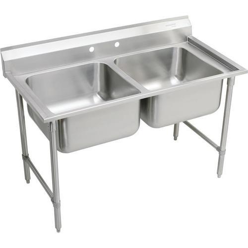 "Elkay Rigidbilt Stainless Steel 59-1/4"" x 29-3/4"" x 12-3/4"", Floor Mount, Double Compartment Scullery Sink"