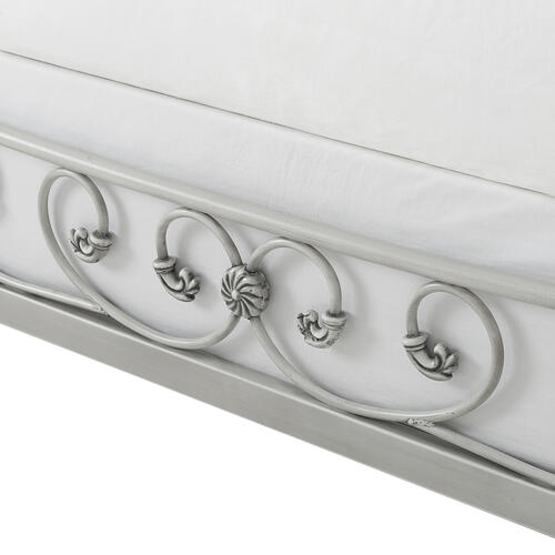 Mercer Metal Queen Sleigh Bed, Brushed White