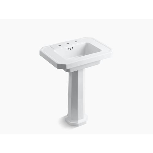 "White Pedestal Bathroom Sink With 8"" Widespread Faucet Holes"