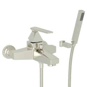 Vincent Wall Mount Exposed Tub Set with Handshower - Polished Nickel with Metal Lever Handle