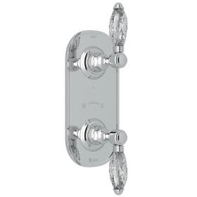 1/2 Inch Thermostatic and Diverter Control Trim - Polished Chrome with Crystal Metal Lever Handle