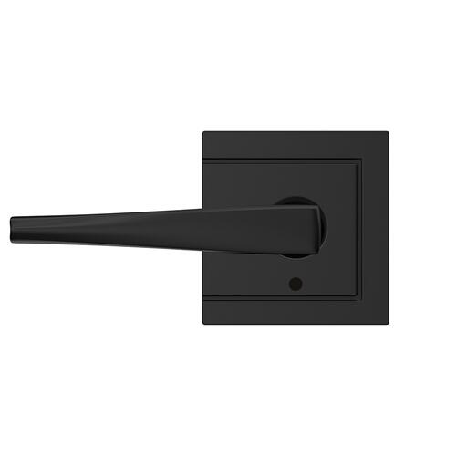 Custom Eller Lever with Upland Trim Hall-Closet and Bed-Bath Lock - Matte Black