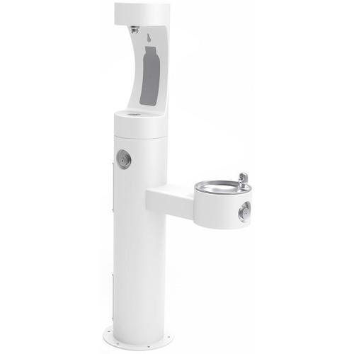 Elkay - Elkay Outdoor ezH2O Bottle Filling Station Bi-Level Pedestal, Non-Filtered Non-Refrigerated Freeze Resistant White