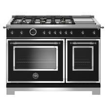 "48"" Hertitage Series range - Electric self clean oven - 6 brass burners + griddle"