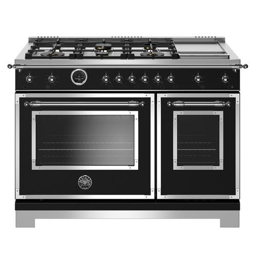 """Product Image - 48"""" Hertitage Series range - Electric self clean oven - 6 brass burners + griddle"""