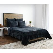 Bari Velvet Ocean Blue 4Pc King Quilt Set