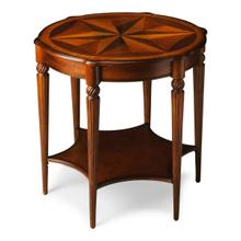 View Product - This elegant table blends classic old world styling with today's casual sophistication. Crafted from hardwood solids, wood products and choice veneers, it is distinguished by a top starburst inlay pattern of maple and walnut veneers encompassed by an olive ash burl veneer border. Features beautifully carved fluted legs with a lower display shelf.