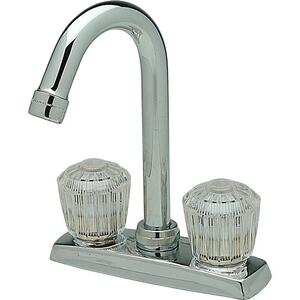"Elkay 4"" Centerset Deck Mount Faucet with Gooseneck Spout and Clear Crystalac Handles Chrome Product Image"
