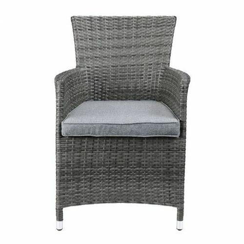 ACME Tashelle 3Pc Patio Bistro Set - 45000 - Gray Fabric & Gray Wicker