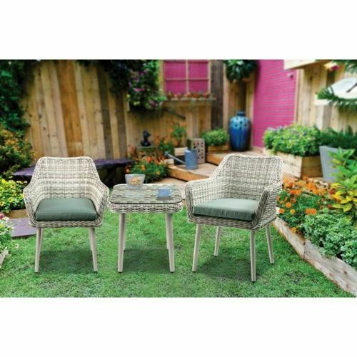 ACME Tashay 3Pc Patio Bistro Set - 45005 - Green Fabric & Beige Wicker